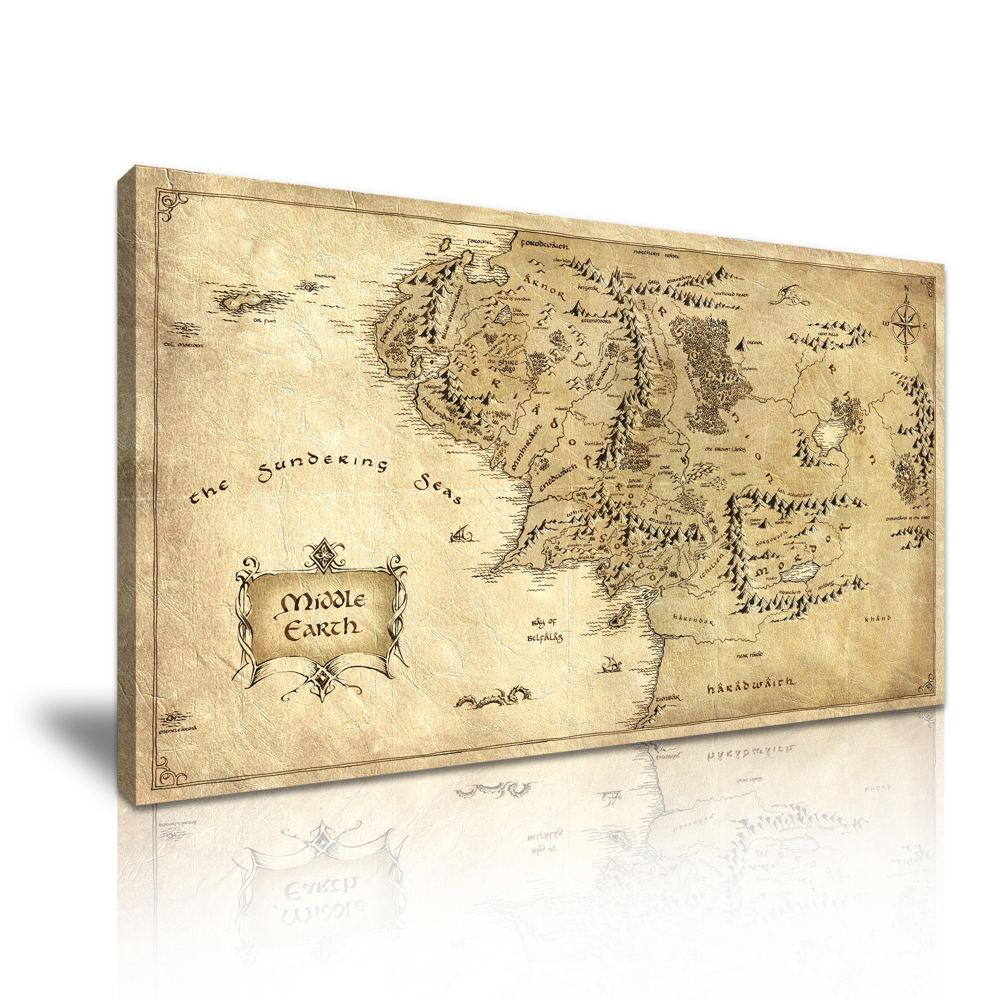 Hobbit Lord of the Rings Middle Earth Map Canvas Modern Home Wall