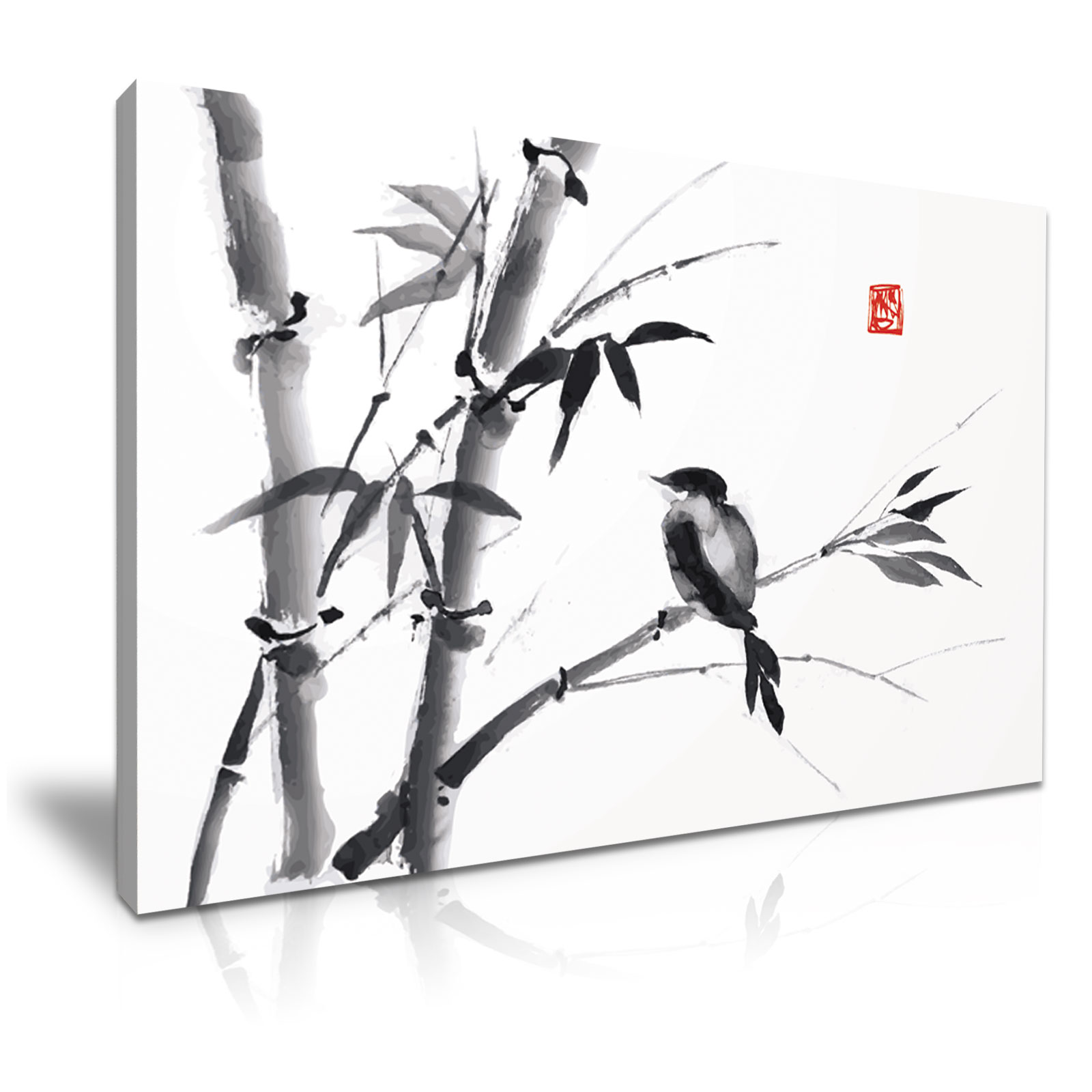 Chinese Art Bird Bamboo Painting Canvas Framed Print