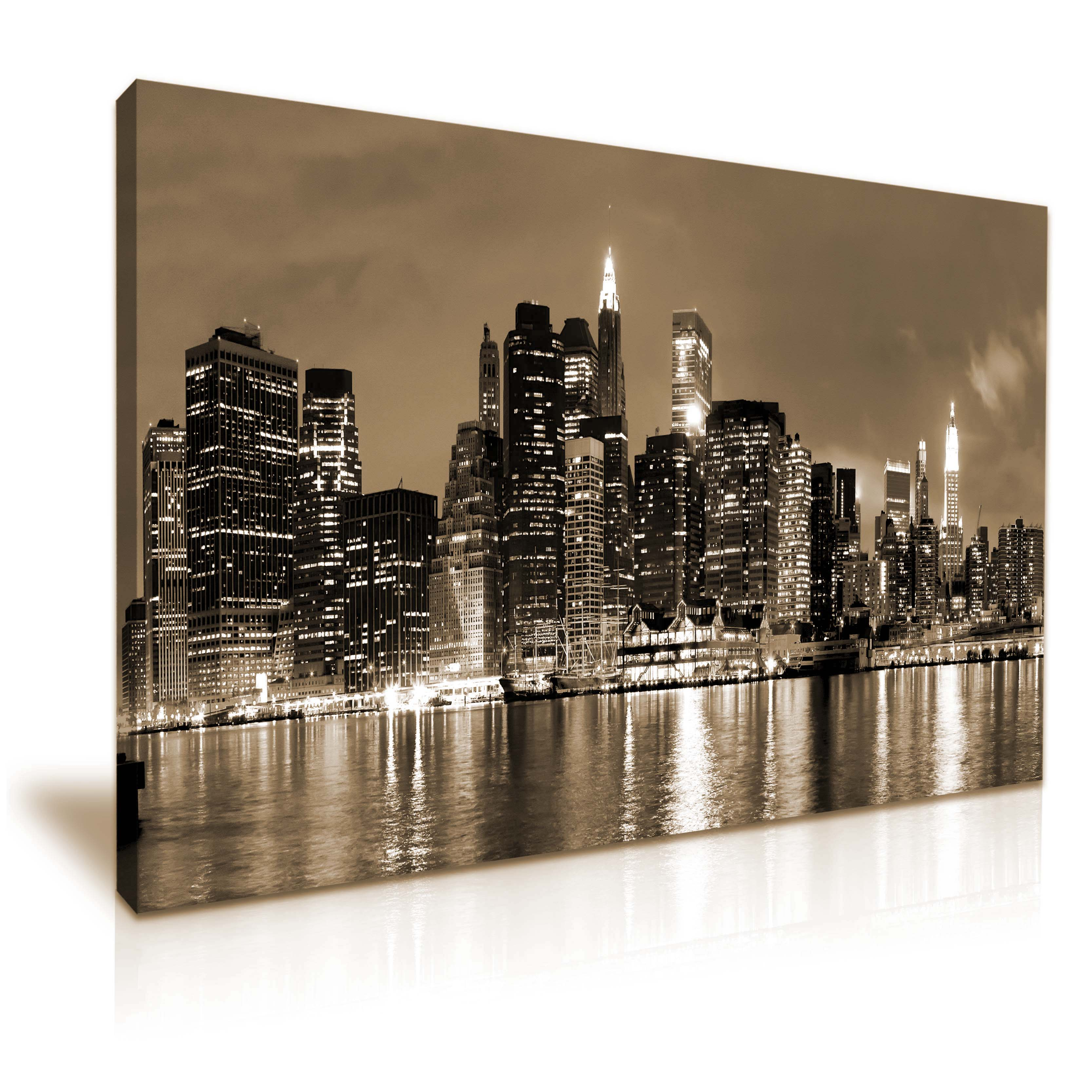 New york city skyline canvas wall art picture print for New york skyline painting